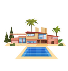 Modern villa on residence expensive mansion palm vector