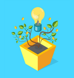 money tree with leaves coins and glowing lightbulb vector image