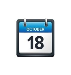 October 18 Calendar icon flat vector
