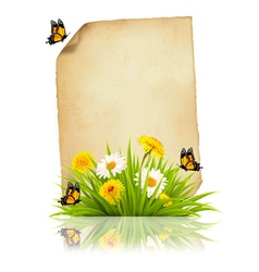 Old sheet of paper with spring flowers and vector