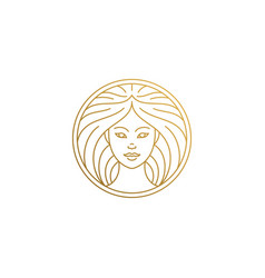 Outline female face logo in circle hand drawn with vector