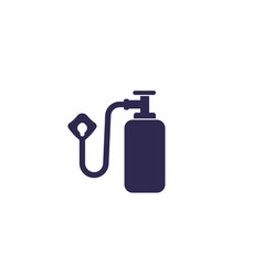 Oxygen tank and mask icon vector
