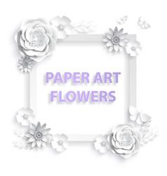 paper art flowers template frame for advertising vector image