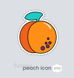 peach fruit or nectarine with leaf icon vector image