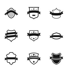 Pennant icons set simple style vector