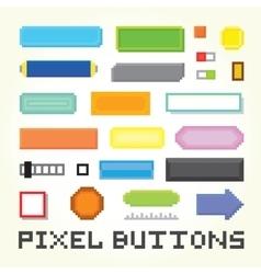 Pixel art buttons set vector