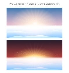 Polar sunrise and sunset landscape vector image