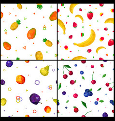 polygonal fruits 4 seamless patterns icons vector image