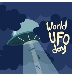 Poster for World UFO day with alien spaceship vector