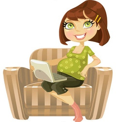Pretty pregnant woman with laptop in beige vector image
