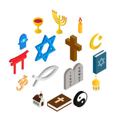 Religion isometric 3d icons set vector