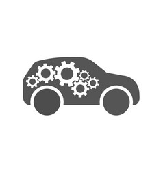 repair car logo silhouette car and gears sign vector image