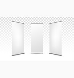 roll up x banner white blank mockup vector image