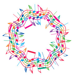 round colorful background music notes vector image