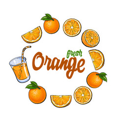 Round frame of oranges and juice with place for vector