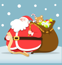 Santa claus checking list for give christmas vector