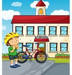 School scene with boy and bike vector