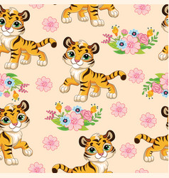 Seamless pattern with cartoon tigers and flowers vector