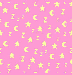 Seamless pattern with stars moons and z vector