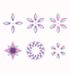 set of 6 symmetric geometric shapes vector image