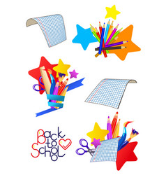 set of cartoon icons on a school theme vector image