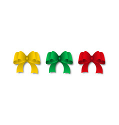 set of festive bows with shadow of red green and vector image