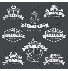 set of seafood Labels in retro style on chalkboard vector image