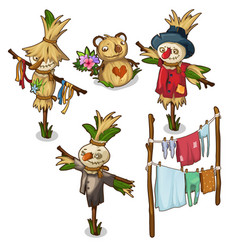Set scarecrow straw toys and drying clothes vector