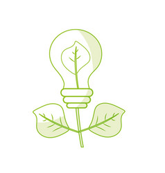 Silhouette energy bulb plant with leaves to vector