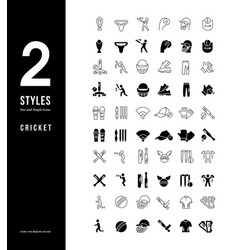 Simple line icons cricket vector