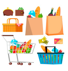 store shopping icons wallet money credit vector image