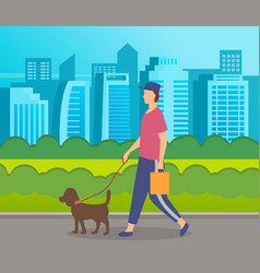Stylish guy in cap holding bag walking with dog vector