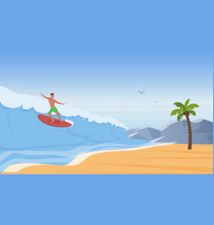 surfer people surf ride water wave on sea beach vector image