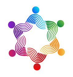 teamwork swirly people colorful concept vector image