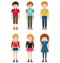 Three faceless boys and three faceless girls vector image