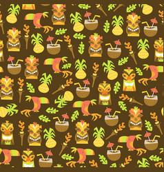 tiki luau seamless pattern background vector image