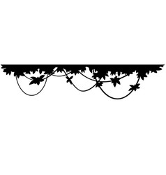 Top border decorative leaves with lianas vector