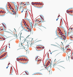 Tropical plants and flower seamless pattern vector