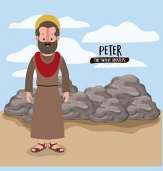 twelve apostles poster with peter in scene in vector image