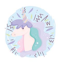 unicorn rainbow horn decoration fantasy magic cute vector image