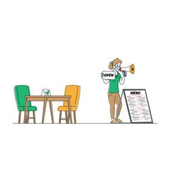 Waitress or promoter character wear protective vector