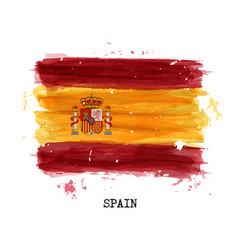 Watercolor painting flag of spain vector