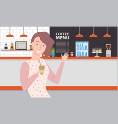 woman drinking coffee in cafe restaurant vector image