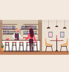 Woman standing at bar counter drinking alcohol vector