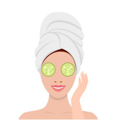 woman with mask of cucumber on her eyes vector image