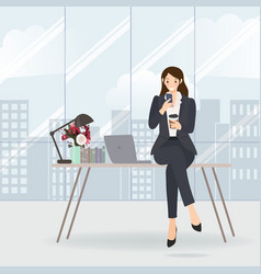 working woman checking her mobile on table vector image