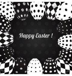 Black and White Background of Easter Eggs vector image
