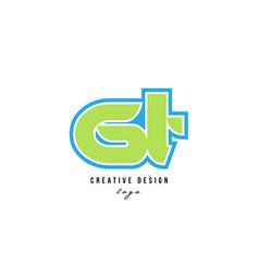 blue green alphabet letter gt g t logo icon design vector image