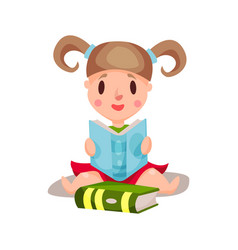 sweet little girl sitting and reading a book vector image