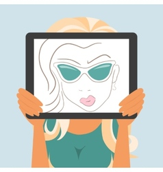 Woman holds tablet pc displaying fashion drawing vector image vector image